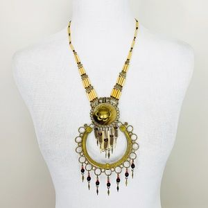 VINTAGE Boho Bead Fringe Necklace Long Artisan